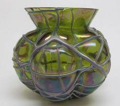 Antique 1800's LOETZ Threaded Gourd Green Iridescent Bohemian Glass Vase