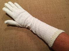 Vintage Beaded Opera Gloves White Long Gloves by CobbledStreets