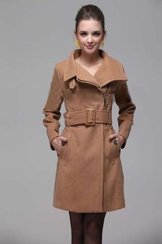 Jeffersonville, Indiana, United States++Womens Wool Coat Fashion Belt Military Trench Coat Winter Outwear US S M L XL  //////53.99$
