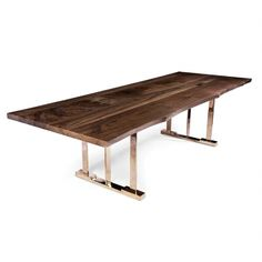 COLLAGE TABLE - Hudson Furniture - dining table with bronze base and live edge walnut top