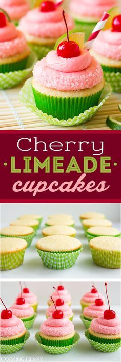 Cherry Limeade Cupcakes - PERFECT flavor combo! Absolutely love these cupcakes! So fun for summer.