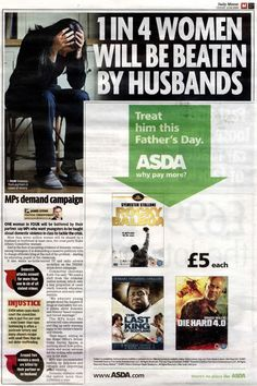 "Ad Placement Fail - Domestic Abuse Article beside a ""Treat Him This Fathers Day"" Ad"