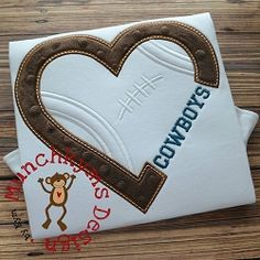Football Heart For Name Applique - 3 Sizes! | What's New | Machine Embroidery Designs | SWAKembroidery.com Munchkyms Design