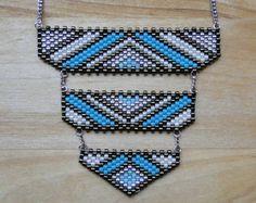 Sautoir perles Miyuki tissées turquoise bleu et par MelleSimoneShop