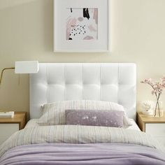 Shop a great selection of Modway Lily Tufted Faux Leather Upholstered Twin Headboard White. Find new offer and Similar products for Modway Lily Tufted Faux Leather Upholstered Twin Headboard White. White Headboard, Leather Headboard, Wingback Headboard, Panel Headboard, Bed Headboards, Teen Room Decor, Bedroom Decor, Bedroom Ideas, Adjustable Beds