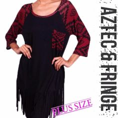 "FRINGE HEM AZTEC DETAIL TOP IN BURGUNDY & BLACK So cute and trendy! This fringe bottom top is made of rayon and spandex so it's very soft. Aztec design adds the sass to this top. Made in USANWOT ♦️1X: bust 44""♦️2X: 45""♦️3X: Bust 48.5""♦️LENGTH: front 36.5-38.5"" & back 40-42""PLEASE DO NOT BUY THIS LISTING! I will personalize one for you. tla2 Tops"