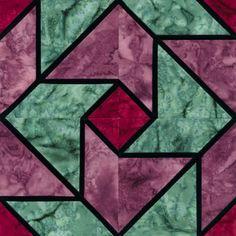 Stained Glass Whirlaround Quilt Block Pattern
