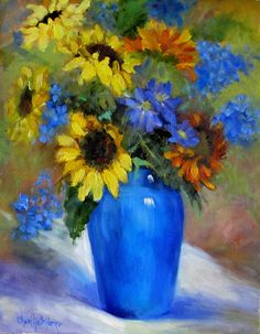 Cobalt Blue Vase  and Sunflowers Still Life Original 11x14 Canvas Painting by Cheri Wollenberg. $150.00, via Etsy.