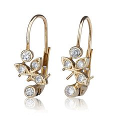 Handmade 14K yellow gold retro earrings with 0.30ct inlaid diamonds ... way out of my price range, but sooo in love with them.