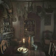 skyrim home decor Witch Cottage, Cottage In The Woods, Witch House, Site Art, Witch Decor, Witch Aesthetic, Kitchen Witch, My New Room, Witchcraft