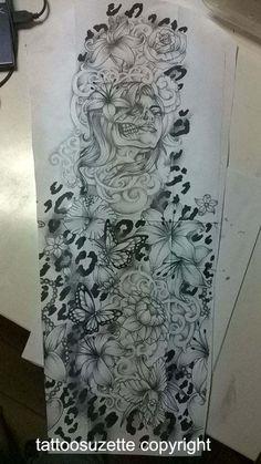 Flower and leopard print tattoo (full sleeve) by tattoosuzette