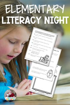 """Literacy is one of the most important skills for any elementary student. Why not have """"literacy"""" nights at school for parents and kids? This packet has different activities broken down by early elementary and upper elementary ability levels. Check it out!"""