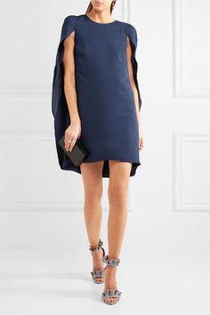 Halston Heritage - Cape-effect Crepe De Chine Mini Dress - Navy - US