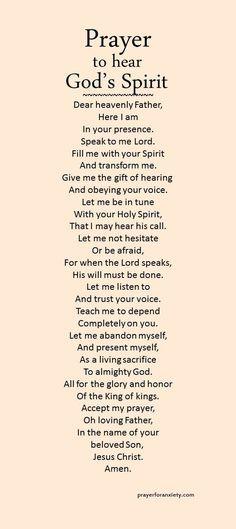 Image result for prayer to hear God's spirit