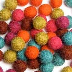 1.5CM Felt Balls/60Piece  Cirque Mix by HandbehgFELTS on Etsy, $18.75