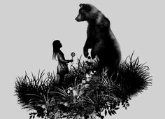 Check out the design The Bear Encounter by Ronnel Cabardo available on Men's T-Shirt on Threadless Spirit Bear, Spirit Animal, Bear Tattoos, Memorial Tattoos, Art Costume, Bear Art, Cool Posters, Black Bear, Art Prints