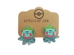 Hey, I found this really awesome Etsy listing at https://www.etsy.com/listing/192880385/bulbasar-pokemon-inspired-cling-earrings