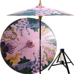 Outdoor Patio Umbrellas :: Peacock Garden (Pristine Pink)