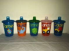 Set of 3 Personalized Sippy Cups Small Colorful by EllerysDesigns, $12.25