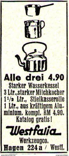 Original-Werbung / Anzeige 1938 - WASSERKESSEL - WESTFALIA - HAGEN - Ca. 20 X 45 Mm - Werbung