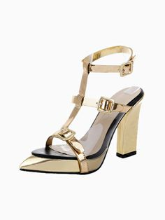 Metalic Pointed T Bar Sandals | Choies