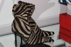 Donald J Pliner Black & Camel Tiger Animal Print Stretch Ankle High Heel Boots 8 #DonaldJPliner #Shoes
