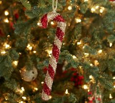 Tinsel Candy Cane Ornament | Pottery Barn
