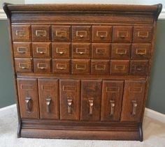 STUNNING GRAND RAPIDS  Oak Library Card Index File Cabinet Stackable c 1900-20