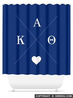 Sorority Hipster Logo Dark Blue Shower Curtain | Free Shipping. Order for your sorority (shown in Kappa Alpha Theta)! ** Also comes in other designs. Shop now! http://www.greeku.com/sorority/merchandise/home-decor/shower-curtains/hipster-logo-dark-blue-shower-curtain/