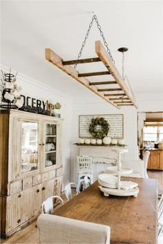 Old Ladder Hung From Dining Room Ceiling Makes A Dreamy Rustic Light