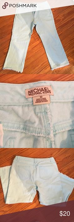 Michael Kors Denim Capris Light blue denim capris; 5 pocket styling. Silver tone hardware. Frayed on the ends of the legs so you can fold them up. MICHAEL Michael Kors Pants Capris