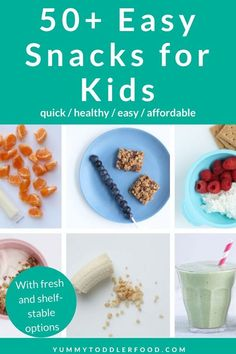 Coming up with easy snack ideas can be daunting day in and day out, so use this list as inspiration for healthy snacks without fuss or hours in the kitchen! #easysnacks #easysnacksforkids #healthysnacksforkids #toddlersnacks