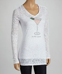 71a8eb4ece8c Take a look at this White Martini Burnout Tee by TROO on  zulily today!