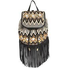 Rebecca Minkoff Women Embellished Leather Fringe Backpack (8.060 ARS) ❤ liked on Polyvore featuring bags, backpacks, day pack backpack, sequin backpack, draw string backpack, fringe backpack and leather fringe backpack