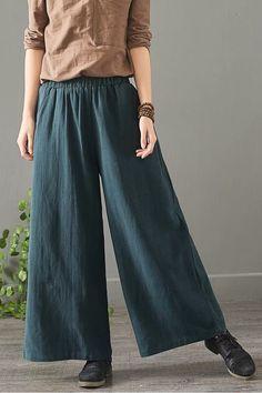 17 Best Women Work Pants – Great Outfits for Working Women Black Linen Pants, Wide Leg Linen Pants, Best Work Pants, Wide Trousers, Pants For Women, Clothes For Women, Pants Pattern, Handmade Clothes, Vintage Ladies