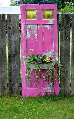 this old door painted this incredible color simply has a window box attached to the front, and is used as art in the garden. Garden Doors, Garden Gates, Yard Art, Pallet Exterior, Reclaimed Doors, Repurposed Doors, Outdoor Furniture Plans, Adirondack Furniture, Teak Furniture