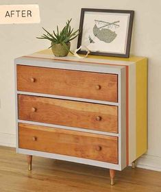 Before & After: Sarah's Striped Dresser – Design*Sponge 70s Furniture, Refurbished Furniture, Mid Century Furniture, Furniture Projects, Painted Furniture, Furniture Design, Bedroom Furniture, Retro Furniture Makeover, Modern Furniture