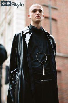 black vinyl belted coat by MSGM