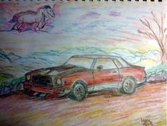 Pencil Sketch of the vision I had for my Mustang II if I had not wrecked it in 85- 2015