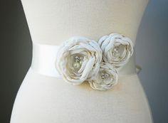 Handmade Floral Bridal Sash in Ivory