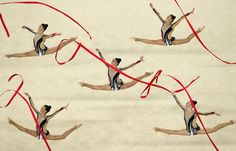 Yuval Filo, Alona Koshevatskiy, Ekaterina Levina, Karina Lykhvar and Ida Mayrin of Israel compete during the Group All-Around Final on Day 16 of the Rio 2016 Olympic Games at Rio Olympic Arena on Aug. 21, 2016.