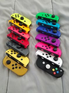 My Joy-Con Color Collection (Solid Colors Only): Neon Yellow; Super Nintendo, Nintendo 3ds, Nintendo Consoles, Nintendo Switch Accessories, Gaming Accessories, Kawaii Games, Nintendo Switch Case, Mundo Dos Games, Gaming Room Setup
