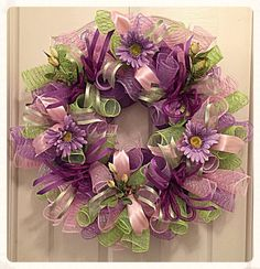 SALE Purple Daisy Deco Mesh Wreath/Spring by CKDazzlingDesign