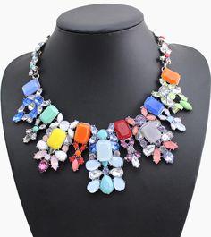 2016 New Z Collar Colorful Rhinestone Maxi Statement Necklace Women Fashion Jewelry Choker Bib Necklaces Pendants