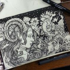 Protetora #draw #blackwork #hachura #sketchbook #desenho #arte Blackwork, Moleskine, Doodles, Tutorials, Ink, Illustrations, Drawings, Sketches, Artwork