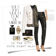 date night slay by jamie-lea-wellik on Polyvore featuring polyvore fashion style Balmain Yves Saint Laurent MICHAEL Michael Kors Michael Kors Chanel Rika clothing