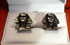 Original Vintage Sterling Silver Sphinx Cufflinks by CremedelaCuff on Etsy