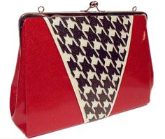 Sparkle Vinyl Purse  Houndstooth Red Metal Flake by RetroRedone, $100.00