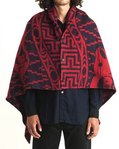 Engineered Garments Over Button Shawl In Red Salmon People Wool