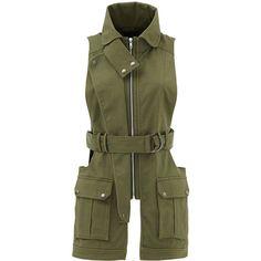 Rental Marissa Webb Gavin Canvas Vest ($70) ❤ liked on Polyvore featuring outerwear, vests, dresses, green, tie belt, green waistcoat, sleeveless vest, canvas vest and sleeveless waistcoat